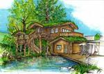 Altholzfassade, Begrünung Dächer, Kletterpflanzen etc.